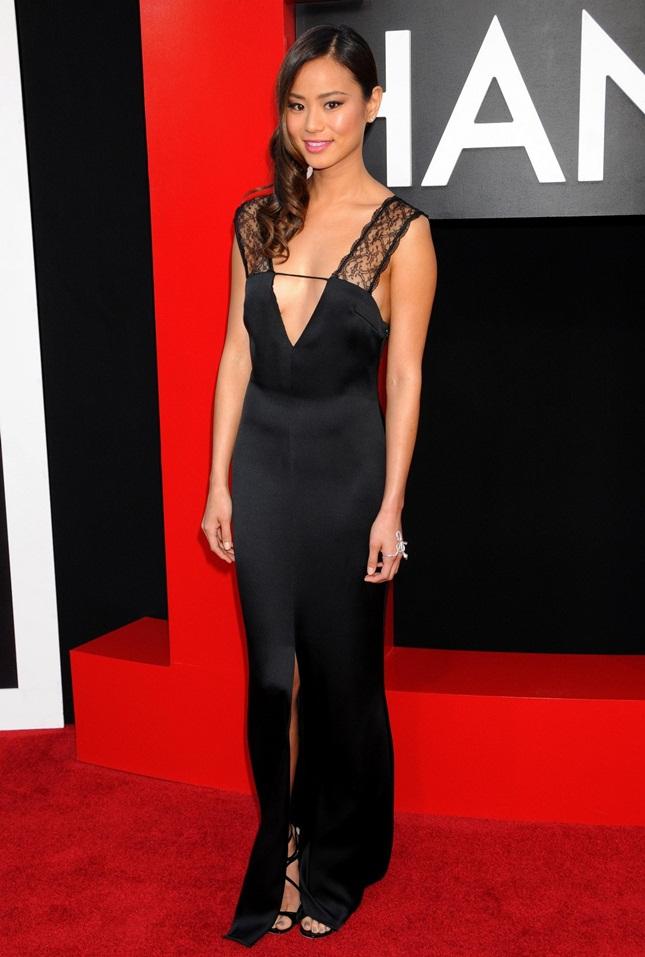 Jamie Chung Low Cut Black Dress